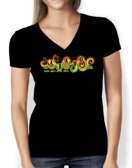 barbados-black-ladies-v-neck-tight-t-shirt-front